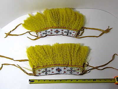 2- Vntg. Native American INDIAN Ankle Cuffs w/ Beaded Strip On Leather /c.1960?