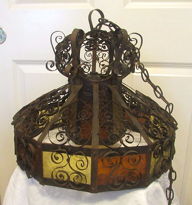 Vintage Mid Century Spanish Revival Cast Iron Glass Chandelier Light Free Ship