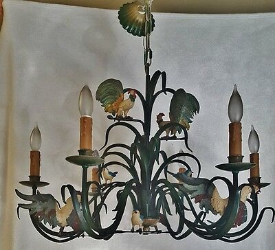 Rare Vtg Wrought Iron Chandelier French Country Roosters & Bluebirds Figurines