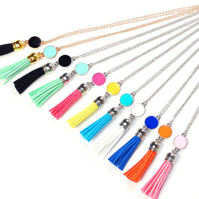 New Women Fashion Jewelry Leather Tassel Pendant Long Chain Sweater Necklaces