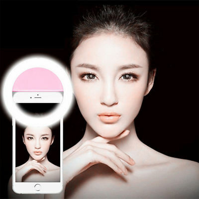 【HOT】Pink LED Ring Flash Lighting 360° Selfie Clip Fill Light For iPhone Andriod