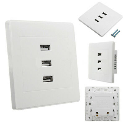 USB 2.0 Wall Socket Charger Outlet Plate Panel DC 5V 10A 3 Ports Universal