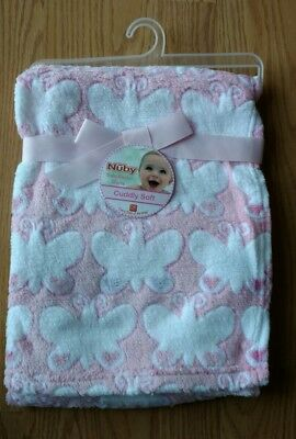 NUBY Baby Blanket Infant Girls Butterflies Butterfly Pink NEW NIP NWT