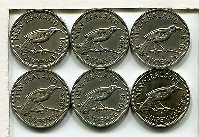 New Zealand Sixpences - 1951 1952 1955 1956 1960 And 1965, Fine To Ef (6 Coins)
