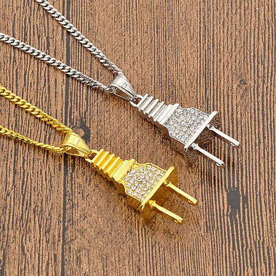Unique Iced Out Bling Power Plug Pendant Hip Hop Cuban Necklace Chain Mens Gift