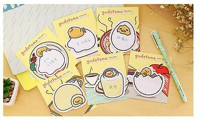 Set of 6 - 20pages Gudetama Egg Memo Stick/ Post-it note/ Sticky Memo Paper