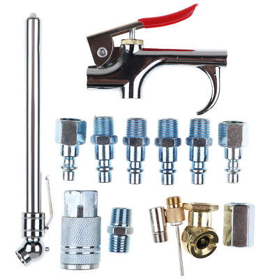 14pcs Pneumatic Air Tools Accessories Kit Blow Dust Gun Chuck Set Air Compressor