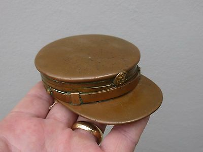 An Unusual Antique Copper & Brass Naval Officers Hat Snuff Box c1900