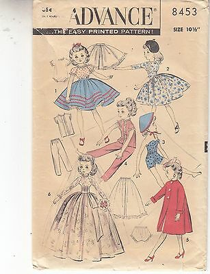 Advance Revlon Doll Wardrobe 10.5 inch Clothing Sets 1950s Sewing Pattern 8453