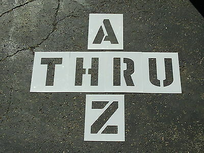 """12"""" Alphabet Stencils for Parking Lot Striping Playground Games ReUsable 1/16"""""""