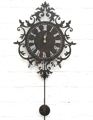 Ornate Pendulum Wall Clock Black Distressed Shabby Chic French Vintage Large