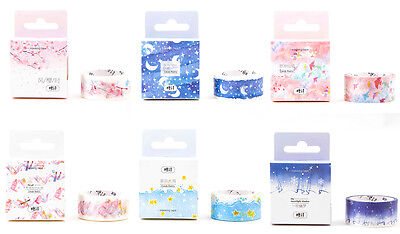 20mmX5M Pastel Pink Blue Sea Moon Sakura Fantasy wonderland Perfume washi tape