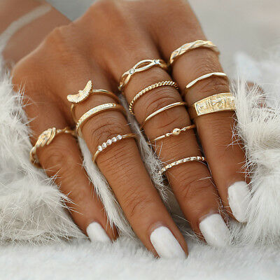 12Pcs/Set Vintage Gold Boho Midi Finger Knuckle Rings Women Jewelry Gift Fashion
