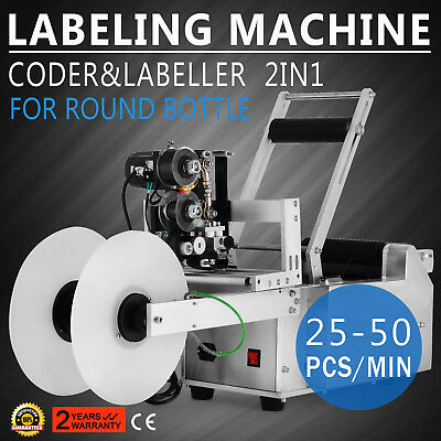 Automatic Round Bottle Labeling Machine With Date Code Printer Coding Machine CE