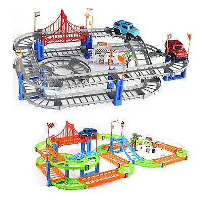 Hot Kids Toys Assembly Slot Car Track Set Electric Multi Levels Rail DIY Playset