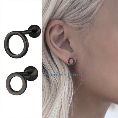 Lovely Pair 316L Surgical Steel Simple Design Round Hoop Earrings Studs EV62