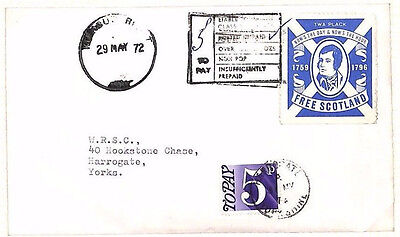FF245 1972 GB Charged Mail *FREE SCOTLAND* Cinderella Cover 5p POSTAGE-DUE Yorks