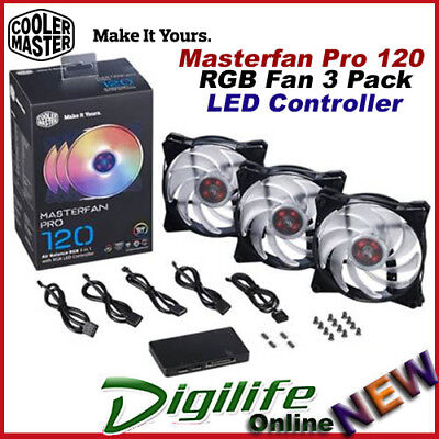 Cooler Master Masterfan Pro 120 Air Balance 120mm RGB Fan 3 Pack LED Controller