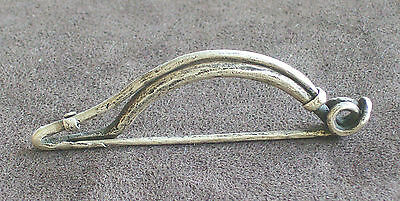 Ancient Old 6-5 Cent. B.c. Celtic Sacral Ceremonial Burial Silver Fibula Brooch