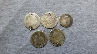 Lot of 5 Medieval Age Silver Coins with Holes