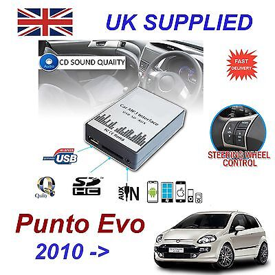 FIAT PUNTO EVO MP3 SD USB CD INGRESSO AUX adattatore audio digitale CARICATORE
