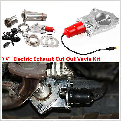 """2.5"""" Electric Exhaust+Remote Downpipe Cutout E-Cut Out Valve System Kit Red New"""