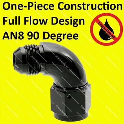 AN8 8AN Aluminium Male to Female 90 Degree Swivel Fitting Adapter - Black