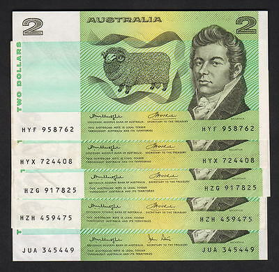 Australia R-86c x4, 87 x1. (1976 & 79) Two Dollars. Knight/Wheeler, Knight/Stone