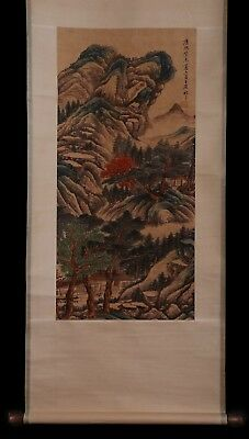 Exquisite Rare Old Chinese Landscape Scroll Hand Painting Mark WangYuanQi KK661