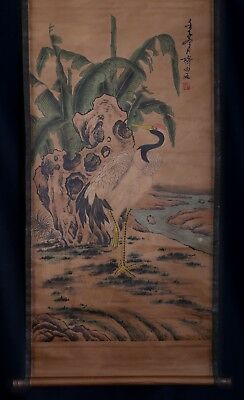 Exquisite Long Old Scroll Chinese Hand Painting Cranes Marked QiBaiShi KK616