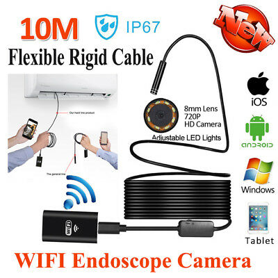 Flexible 8mm 10M + WIFI Endoscope Borescope Inspection HD Camera For Android IOS