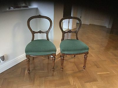 Set of 2 Victorian chairs -  upholstered seats