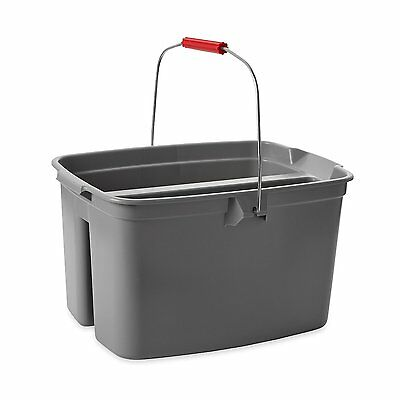 Rubbermaid Commercial 2628-88-GRAY Plastic Double Pail/Bucket, Gray, 19 Qt