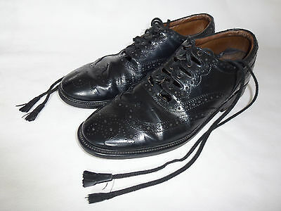 Scottish Made Black Leather Ghillie Brogues Kilt Shoes Pipers 10½UK, 11½US, 45EU