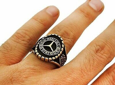Mercedes Benz , Turkish Handmade 925 Sterling Silver Mens Ring Sz 11 Free Resize