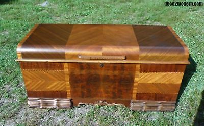 Antique LANE Art Deco Waterfall Cedar Hope Chest Storage Trunk Commode Box Bench