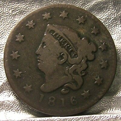 1816  CORONET HEAD LARGE CENT  Free Shipping fr-1