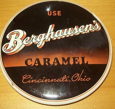 Old Advertising Premium Mirror Berghausen's Caramel Cincinnati OH Candy