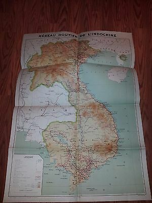 """1937 Detailed Map of FRENCH INDO-CHINA 36"""" x 25"""""""