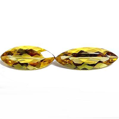 NATURAL FLAWLESS AAA GOLDEN YELLOW BERYL LOOSE GEMSTONE (2 pieces) MARQUISE CUT