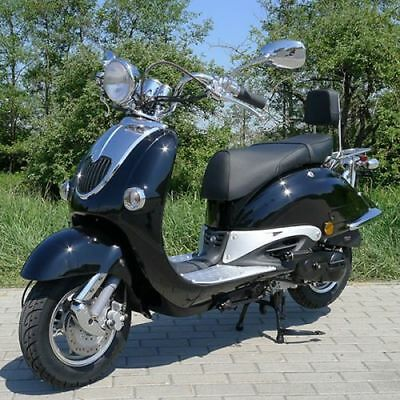 Retro Scooter ZN50QT schwarz OHNE Koffer Classic Scooter
