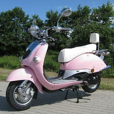 Retro Scooter ZN50QT pink OHNE Koffer Classic Roller