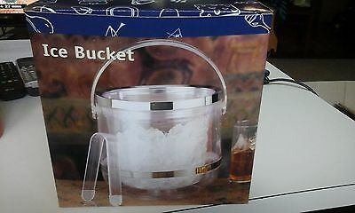 Bnib Unknown Brand Transparent Dble Wall Acrylic Ice Bucket With Lid+Tongs Excon