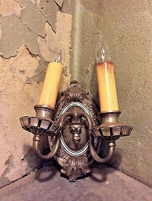 antique single ornate wall sconce with double candle holders circa 1920
