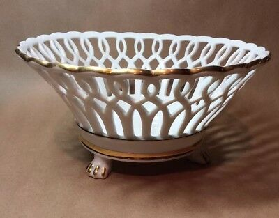 Antique Large Reticulated White Old Paris? Compote Fruit Bowl 3 Footed Gold Trim