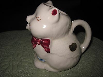 Vintage Shawnee Puss N Boots Cat with Bow Creamer Cream Pitcher WITH LABEL