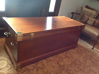 Antique Huge Campaign Camphor Wood Chest Trunk, With Chicago Provenance