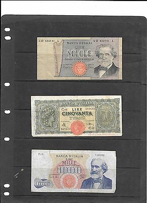 3 pc Italian Currency Collection circulaterd