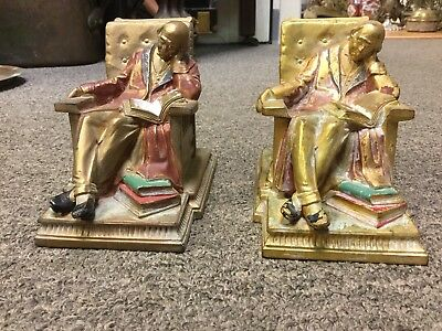 Vintage  K & O Co. Bookends Polychrome / Man Sleeping in Chair reading a Book