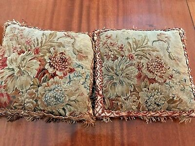 antique aubusson tapestry pair of pillows